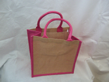 Pink Edged Jute Bag
